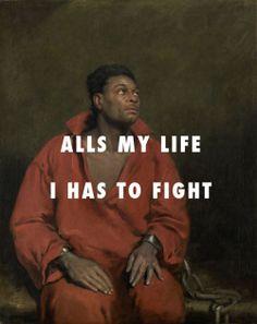 "flyartproductions: "" Hard times like ""God!"" The captive slave (1827), John Simpson / Alright, Kendrick Lamar ft. Pharrell Williams """