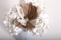 beautiful burlap tulip from vyn inc. Check out more of our burlap flowers and branches at www.vynflowers.com #burlap #driedfloral #vyninc #arrangement #hydrangea #tulip #flowers