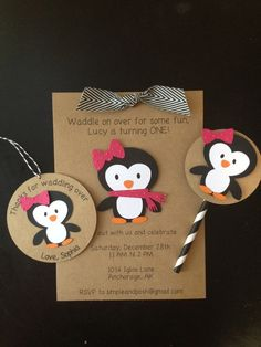 Penguin with Pink Bow Custom Made Birthday Party Pack, Handmade and Personalized Invitations, Thank You Tags, & Cupcake Toppers