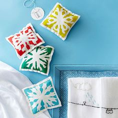 Add soothing herbs to these Snowflake Sachets. They are perfect homemade christmas gifts for all of your friends and family: http://www.bhg.com/christmas/crafts/handmade-gifts-for-friends/?socsrc=bhgpin112513snowflakesachets&page=1