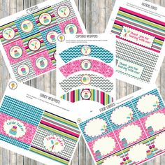 Baking Party - LIttle Baker Party- Printable Party Kit - Pink, Aqua, Lime, & Gray