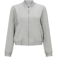 Miss Selfridge Ponte Bomber Jacket, Mid Grey ($51) ❤ liked on Polyvore featuring outerwear, jackets, grey sports jacket, ponte jacket, zipper jacket, metallic jacket and gray bomber jacket