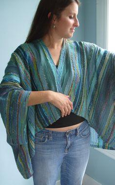 Handwoven Jacket / Shawl / Large / Plus Size / by barefootweaver, $375.00