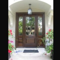 Side Light Entry Doors | Amberwood Doors Inc. Exterior Doors With Sidelights, Double Doors Exterior, House Front Door, Glass Front Door, Wooden Main Door Design, Beautiful Front Doors, Door Entryway, Front Door Colors, Facade House