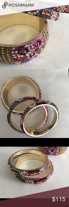 """Anthropologie Set of Crystal Bangles, NWOT Gorgeous set of three crystal bangles from Anthropologie  Colorful and bright, very sparkly  Purchased them and never wore them  There are no stones missing  Thanks for looking!  PS: If you """"like"""" any of my items, I will send you a discounted price within a few hours. The price will not drop after that. If you make an offer, I will either counter or accept asap! Anthropologie Jewelry Bracelets"""