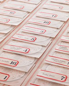 cd of our favorite songs doubles as a favor and seating card