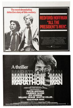 "Lot 20  Film Poster Lot (1976). British Quads (40"" x 30""), comprising: ""Marathon Man""; ""All The President's Men"". Both Single Sided and Folded. Excellent to Near Mint. (2)  Estimate: £40 - £60"