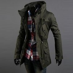 Men's Casual Warm Winter Slim Jacket Long Stylish Windbreaker Male Stand Collar in Clothing, Shoes & Accessories, Men's Clothing, Coats & Jackets | eBay
