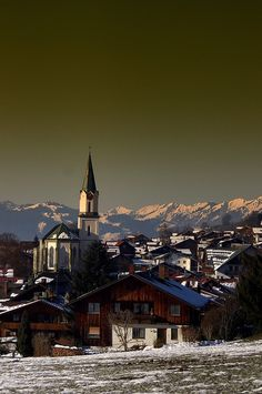 Bad Hindelang, Germany - View of the Parish Church and the Alps