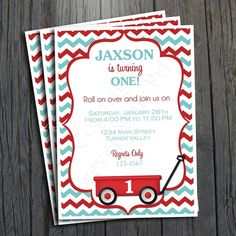 Little Red Wagon Birthday Invitation - FREE Thank You Card included $15 #wagonparty #invitation
