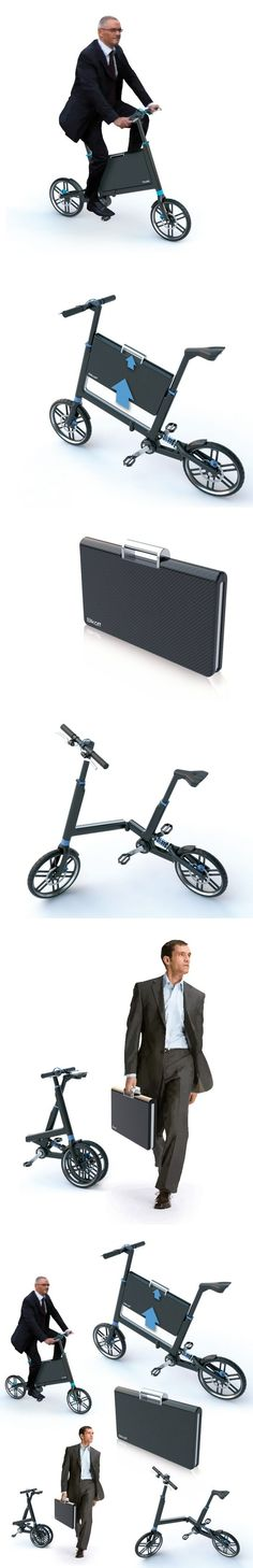 Bikoff' is a small foldeable bike which features a briefcase incorporated into the frame.
