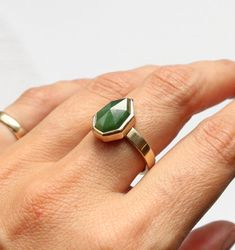 Bespoke Pounamu New Zealand Greenstone Ring by Courtney Marama Jewellery New Zealand Jewellery, Triangle Ring, Green Rings, Jade Ring, Green Stone, Contemporary Jewellery, Precious Metals, Handcrafted Jewelry, Solid Gold