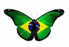 Baixar - Borboleta de bandeira do Brasil voando, isolado no fundo branco — Imagem de Stock