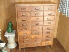 Gentil Antique Hobart Cabinet Co. Mercentile, Seed,Office  Cabinet Tin Drawers