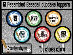 Baseball Cupcake Toppers Sports Birthday Party Decorations