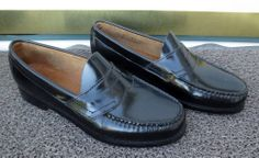 Women's GH Bass Weejuns Diana Black Leather Slip On Penny Loafers Size 8 1/2 EE