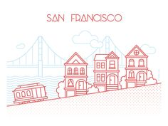 San Francisco on Behance, Icon, Vector, Illustration, Thin Painted Ladies, Illustrations, Illustration Art, San Francisco Tattoo, San Francisco Skyline, Bridge Drawing, Bridge Logo, San Francisco Cable Car, Car Tattoos