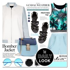 """Summer style - Bomber jacket.shorts.sandals.printed top"" by cly88 ❤ liked on Polyvore featuring Elie Saab, New Look, Tiffany & Co., BERRICLE and Terre Mère"