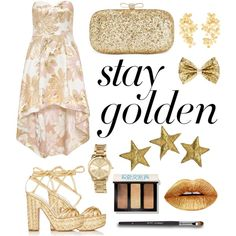 Shine Bright Like Gold by kadyflip on Polyvore featuring polyvore, fashion, style, Chi Chi, Alchimia Di Ballin, INC International Concepts, MICHAEL Michael Kors, Pippa Small, Bobbi Brown Cosmetics and clothing