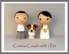 Custom  Couple with One Pet Wedding Cake Toppers by licoricewits, $70.00
