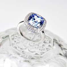 Swarovski, Sapphire, Engagement Rings, Light Blue, Engagement Ring, Crystals, Metal, Ring, Silver