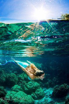 awesome underwater picture of a mermaid Mermaid Lagoon, Mermaid Fairy, Mermaid Tale, Real Mermaids, Mermaids And Mermen, Magical Creatures, Sea Creatures, Merfolk, Underwater Photography