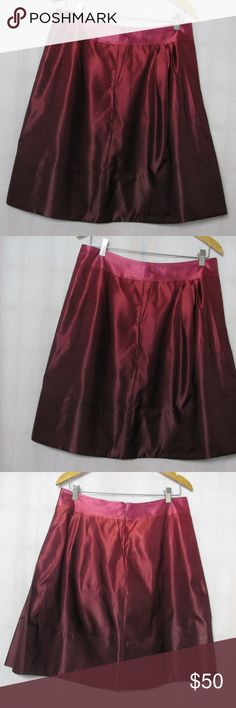 Ann Taylor Size 10 Ombre Skirt New NWT Ann Taylor size 10 Shades of pink red ombre skirt. pleats in the front. Side seam pockets. New with tag attached. Photo shows the skirt folded to show the side pocket. The other picture is the full skirt from the back. Ann Taylor Skirts A-Line or Full