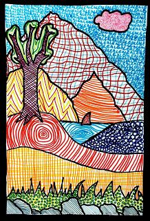 Landscapes art project with lines and patterns to create texture. Simple but has awesome impact. This art activity is great for upper elementary and middle school students. arteascuola: Landscapes of texture