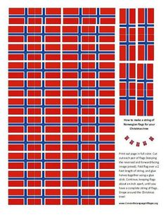 Less Commonly Taught: Make your own Norwegian Flag Garland for the Christmas Tree Norwegian House, Norwegian Flag, Norwegian Style, Norwegian Christmas, Scandinavian Christmas, Norwegian Wood, Make Your Own, Make It Yourself, How To Make