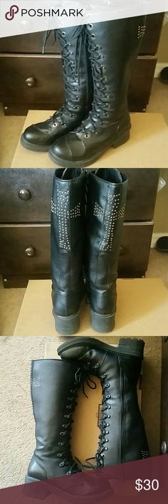"""RIVET HEAD CROSS STUDDED MILITARY BOOTS EUC... Well taken care of Woman's Cross Studded Military Boots fashion goth subculture... Features cross studded detail on the back and a lace up and zipper side closure for easy on and off... Heel height 2"""", Shaft height 14"""", Leg opening 15"""" ... rivet head Shoes Combat & Moto Boots"""