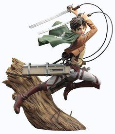 Kotobukiya Attack on Titan Eren Jaeger ArtFx Statue. Sculpted by SHIN TANABE. Attack On Titan Eren, Levi X Eren, Statues, Otaku, Humanoid Creatures, Chibi, Dynamic Poses, Anime Figurines, Thing 1