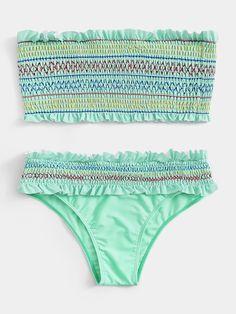 Aqua Doce 2 Piece Bikini Blue Purple Floral Eyelet Lace Trim Womens Brazil Sz M