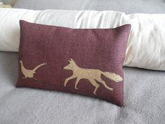 hand printed plum fox and pheasant cushion cover by helkatdesign