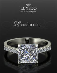 Princess cut Diamond ring Create the jewel of your dreams at http://www.luxedogems.com/diamond/