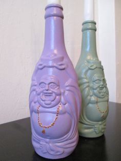 Lucky Buddha Bottle Handpainted Candle Holder by V Designs, $10.00