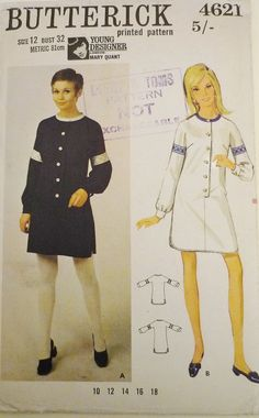 Vintage sewing pattern. Butterick 4621. Young designer, London  Mary Quant