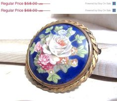 ON SALE Art Deco Limoges Porcelain Brooch Floral by OurBoudoir, $52.20