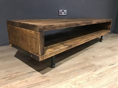 TV CABINET High Made from reclaimed wood and industrial steel Table measures wide, with options of length from to (please see drop down menu). Tv Cabinet Design, Tv Stand Cabinet, Muebles Rack Tv, Tv Diy, Reclaimed Wood Tv Stand, Dark Wood Tv Stand, Salvaged Wood, Swivel Tv Stand, Tv Furniture