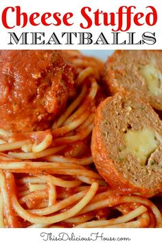 Easy and cheesy stuffed meatballs is the best comfort food ever! Made with provolone, turkey meatballs, and mounds of spaghetti! #stuffedmeatballs #stuffedturkeymeatballs Easy Brunch Recipes, Easy Holiday Recipes, Easy Pasta Recipes, Easy Meals, Dinner Recipes, Brunch Ideas, Turkey Recipes, Christmas Recipes, Meat Recipes