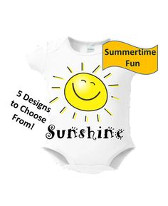 SummerSunBabyOnesie SunnyGiftToddlerFree by Zedezign on Etsy $11 FREE SHIPPING