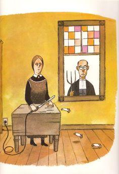 Family Illustration, Illustration Art, Vintage Illustrations, Addams Family Cartoon, John Kenn, Charles Addams, Three Blind Mice, American Gothic, Mother Goose