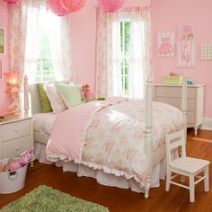 Kids Bedding in Vintage Floral and Pink Chenille Fabric by Carousel Designs.