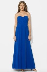 Lauren Ralph Lauren Ruched Strapless Chiffon Gown (Regular & Petite)