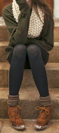 #fall #fashion / green knit + scarf