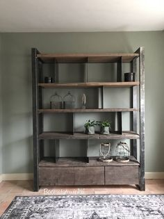 ≥ Industrial cupboard made of wood and steel industrial cupboard cupboards - Cabinets Built In Furniture, Metal Furniture, Cool Furniture, Living Room Furniture, Living Room Decor, Furniture Design, Home Entrance Decor, Rack Tv, Muebles Living