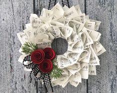 me ~ Christmas Wreath Farmhouse Christmas Music Wreath Winter Christmas Mesh Wreaths, Christmas Ornament Crafts, Christmas Paper, Christmas Crafts, Christmas Music, Wreath Crafts, Diy Wreath, Paper Crafts, Paper Flower Wreaths