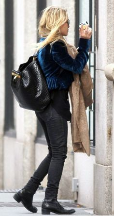 MARY KATE TRIBECA NEW YORK CANDID SUNGLASSES TAN SCARF BLUE VELVET JACKET SKINNY BLACK FADED PANTS JEANS DENIM BLACK BOOTS THE ROW CROC BACKPACK SMOKING 2