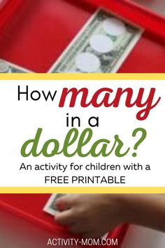 This FREE printable helps your child visualize how many of each coin are in a dollar. Set the nickels, dimes, or quarters onto the dollar and count the money.   #money #countingcoins #kids #math