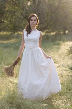 Cute Maggie Buttercream Eyelet Cotton Wedding Dress Also Available in White