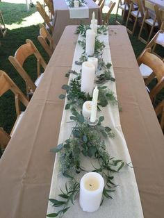 long table style with mixed bottle bud vases wedding table decor Organic Garden Centerpiece — Rose Of Sharon Floral Design Studio Outdoor Wedding Decorations, Wedding Table Centerpieces, Flower Centerpieces, Centerpiece Ideas, Buffet Wedding, Outdoor Weddings, Long Table Wedding, Wedding Church, Decor Wedding